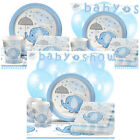 Blue Umbrellaphants Baby Shower Party Packs Tableware Kits - For 8 or 16 Guests