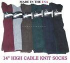 "3 Pairs Womens Cable Knit Soft Acrylic Blend 14"" High Over The Calf Boot Socks"