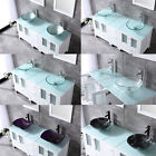 """60"""" White Bathroom Vanity Cabinet Optional Double Sink Tempered Glass Top Mirror"""