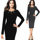 Womens Elegant Patchwork Contrast Collar Work Business Office Party Sheath Dress