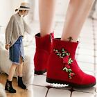 HotWomen Hidden Wedge Heel Casual Embroidery Warm Ankle Boot Chic platform Shoes