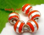 Fashion Round Foil Red European Style Lampwork Glass Beads fit Charm Bracelet