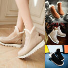 Warm Women's Flats Wedge Heel Shoes Snow Boots Autumn Winter Slip On Shoes