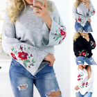 Women Loose Tops Long Sleeve Pullover Casual Blouse Shirt Printed Jumper Sweater