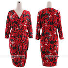 Plus Size Women Spring Floral Red Formal Band Cocktail Party Evening Wrap Dress