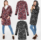 Women Hooded Winter Fleece Lined Coat Print Thicken Warm Jacket Mid Long 6-16 UK