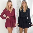 Fashion Women Long Sleeve Cross V Neck Tie Front Chiffon Pleated Romper Playsuit