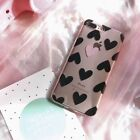 NEW Black Heart TPU Clear Phone Case For iPhone 5 7 7Plus 6 6S Plus 8 8P X SE