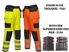 Portwest T501 Vision Mens Hi Vis Trousers Holster Pockets Polycotton Workwear