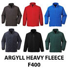 Portwest F400 Argyll Premium Unlined Heavy weight Zip Up Fleece Jacket Workwear