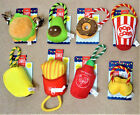 SNAX Food Rope & Plush Squeaky Dog Puppy Toys CHOOSE FOOD
