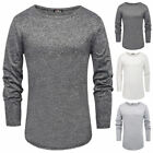 2018 Fashion Mens curved hem T-shirt Top Hip Hop Long Sleeve Body Tee S-2XL