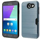 For Samsung Galaxy J3 PRIME Brushed Hybrid Card Case Phone Cover Accessory