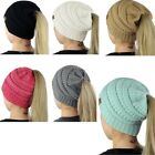 Girl Women Stretch Knit Hat Messy Bun Ponytail Beanie Holey Warm Winter Fashion