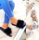 NEW WOMENS LADIES FLIP FLOP SLIP ON SLIPPERS SANDALS FUR FLUFFY SLIDERS SHOES SZ
