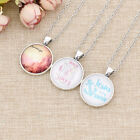 Elegant Jesus Christ Cabochon Necklace Words Letter Silver Plated Women Jewelry