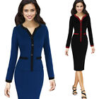 Womens Vintage Color-Block Button Work Office Business Casual Party Wiggle Dress