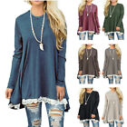 Women Long Sleeve Lace Casual Scoop Neck Loose Striped Tunic Top Blouse T Shirt