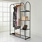 Large Metal Clothes Rail with Shelves and Shoe Rack with Castors