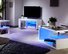 Polar White High Gloss Furniture with LED Lights - Coffee & Lamp Tables TV Unit
