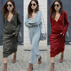 New Women Casual Deep V Neck Long Sleeve Solid Color Knitted Long Maxi Dress