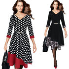 Womens Vintage Contrast Color-Block Work Party Casual Fit and Flare A-line 10101