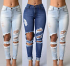 Women Ladies Fit Stretch Ripped Skinny Pencil High Waisted Denim Pants Jeans USA