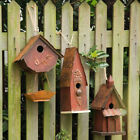 Glitzhome Vintage Rustic Wooden Birdhouses Hanging Bird Feeder Nest Garden Decor