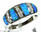 High Quality Blue Fire Opal Inlay Solid 925 Sterling Silver Band Ring Size 6