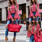 Women's Fashion Ladies Long Sleeve Shirt Loose Casual Striped Blouse Tops Red