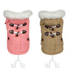Winter Dog Coat Pet Jacket Fur Collar Clothes Small Medium Teddy Apparel New XXL