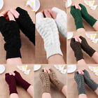 Unisex Men Women Knitted Fingerless Winter Gloves Soft Warm Mitten Solid