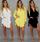 Women V Neck Long Sleeve Loose Chiffon Shirt Dress Clubwear Casual Blouse Dress