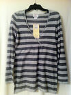 Motherhood Maternity; V-Neck Pull-Over Long Sleeve Stripe Sweater; Grays, M, L