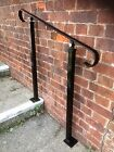 Wrought Iron Handrail Garden steps Metal Exterior Railing - 2 Posts - Adjustable