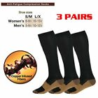 3 Pairs Copper Infused Compression Socks 20-30mmHg Graduated Men's Women's S-XL