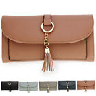 Long Faux Leather Women Wallet Bifold Flap Over Ladies Tassel Card Coin ID Purse