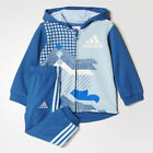 New Adidas Boys Full Zip Hooded Jogger Age 18mth to 4 Years Blue/Icey Blue