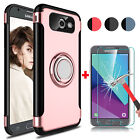 For Samsung Galaxy J3 Emerge/J3 Prime/Luna Pro Stand Case+Glass Screen Protector
