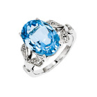 925 Sterling Silver Blue Topaz and Diamond Oval Split-Shank Ring - 6.039cttw