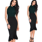Womens Vintage Ruffle Hem High Waist Work Casual Party Mermaid Pencil Midi Skirt