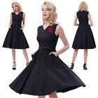Women Lady' Retro Wiggle Flared Dress Vintage Cocktail Evening Party Swing Dress