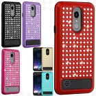 For LG Tribute Dynasty HYBRID IMPACT Diamond Layered Case Cover + Screen Guard