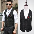 Men's Plaids Business Slim Fit Dress Formal Suit Cotton Gentleman Waistcoat Vest