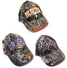 NCAA SOLID MOSSY OAK CAMO ADJUSTABLE HAT CAP LOGO TEXT CURVED BILL CAMOUFLAGE