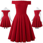 RED Ladies Summer Off Shoulder Party Ball Prom Evening Swing Skater A-Line Dress