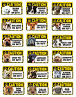 Various Pet Dog BREEDS Caution On Duty Window Sign NEW DESIGN