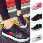 Women Fashion Leather Rose Flower Casual Lace Up Sneakers Trainer Shoes Latest