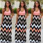 UK Boho Womens Maxi Dress Sleeveless Summer Long Beach Sundress Plus Size 8-22