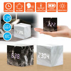 Modern Marble USB/AAA Digital LED Alarm Clock Wooden Wood Calendar Thermometer